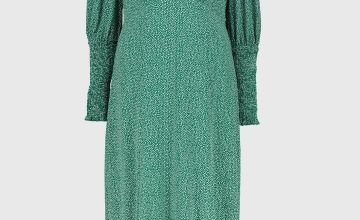 Green Spot Print Shirred Cuff Dress