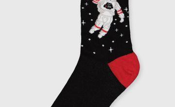 Christmas Santanaut Black Ankle Socks - 6-11