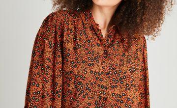 Orange Floral & Animal Print Shirt