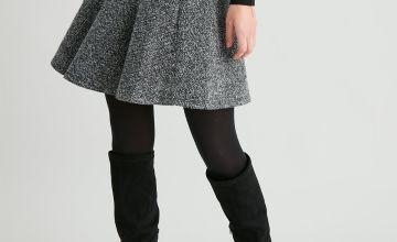 Grey Herringbone Pull On Tulip Skirt
