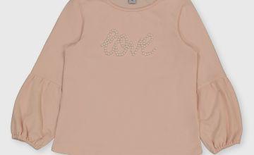 Pink 'Love' Faux Pearl Sweatshirt