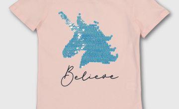 Pink 'Believe' Sequin Unicorn T-Shirt