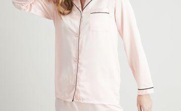 Pink Satin Traditional Pyjamas
