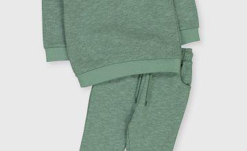 Green Texture Sweat Set