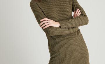 Khaki Soft Touch Mini Cable Jumper Dress