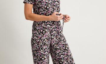 Ditsy Floral Print V-Neck Wide Leg Jumpsuit