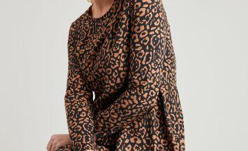 Black Animal Print Midi Tiered Dress
