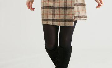 PETITE Brown Check Brushed Wrap Skirt