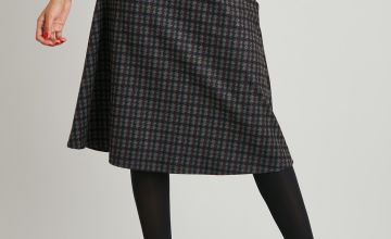 Tweed Check Belted Full Skirt