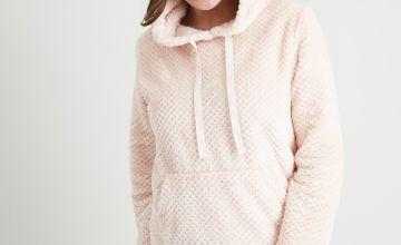 Pink Fluffy Pyjama Top With Stripe Bottoms