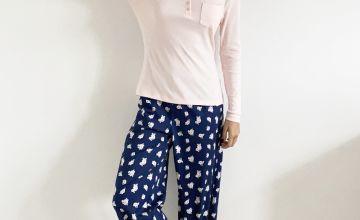 Navy & Pink Henley Floral Pyjama Set