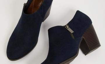 Sole Comfort Navy Faux Suede Ankle Boots