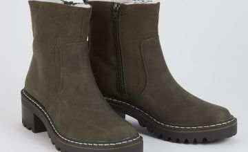 Sole Comfort Khaki Faux Leather Chunky Boots
