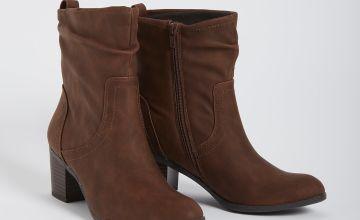 Brown Ruched Block Heel Boot