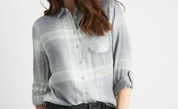 Green & Grey Check Tab Sleeve Shirt