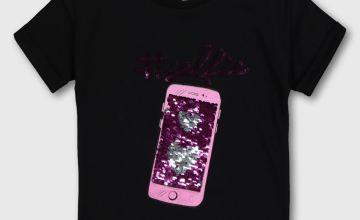 Black Sequin 'Selfie' T-Shirt