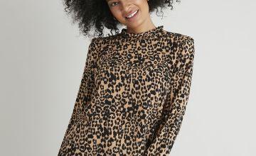 Black & Tan Animal Print High Neck Blouse