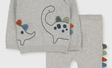 Grey Dinosaur Knitted Set