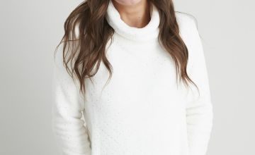 Cream Fluffy Studded Sparkle Pyjama Top