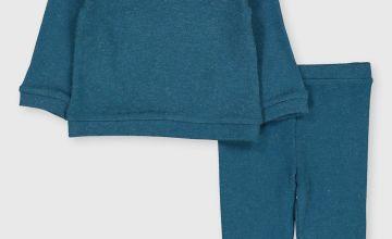 Blue Soft Knit Top & Leggings Set