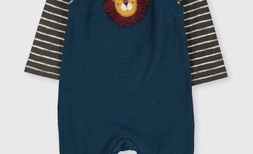 Teal Lion Dungarees & Stripe Bodysuit