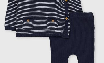 Navy Stripe Knitted Set
