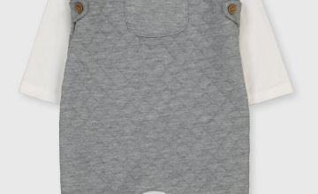 Grey Quilted Dungaree & Bodysuit
