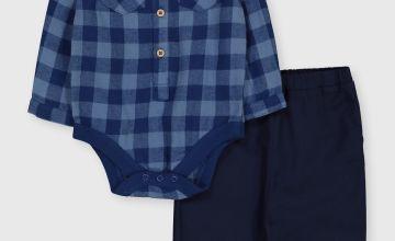 Check Bodysuit & Trousers Set