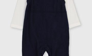 Navy Knitted Dungaree & Bodysuit Set