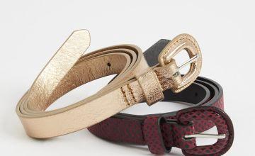 Metallic & Snake Print Skinny Belts 2 Pack