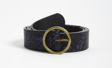Navy Faux Snakeskin Belt