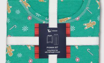 Christmas Green Gingerbread Print Pyjama Set