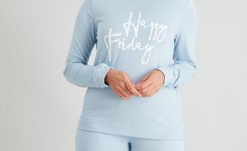 Blue 'Happy Friday' Soft Knit Pyjama Set