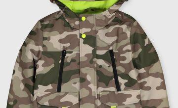 Camo Print Shower Resistant Ski Coat