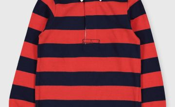 Red & Navy Stripe Rugby Shirt