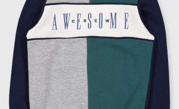 'Awesome' Crew Neck Colour Block Sweatshirt