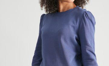 Navy Puff Sleeve Sweatshirt
