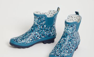Blue Animal Print Ankle Boot Wellies