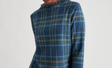 Teal Check Check Brushed Shift Dress
