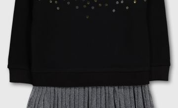 Black Sequin Jumper & Pleated Skirt