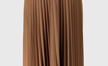 Tan Jersey Pleated Midi Skirt