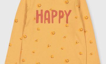 'Happy' Slogan Long Sleeved Top