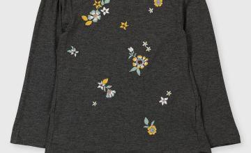Grey Embellished Flower Top