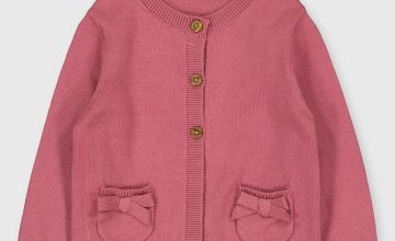 Pink Bow Pocket Cardigan