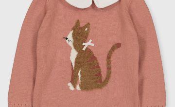 Pink Cat Appliqué Jumper