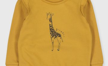 Yellow Giraffe Motif Sweatshirt