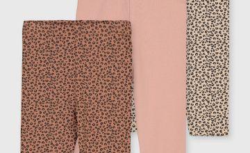 Pink & Leopard Print Leggings 3 Pack