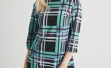 Geometric Check Brushed Shift Dress
