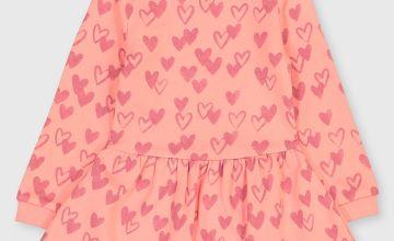 Pink Heart Print Dress