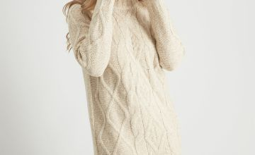 Oatmeal Cable Knit Longline Jumper Dress
